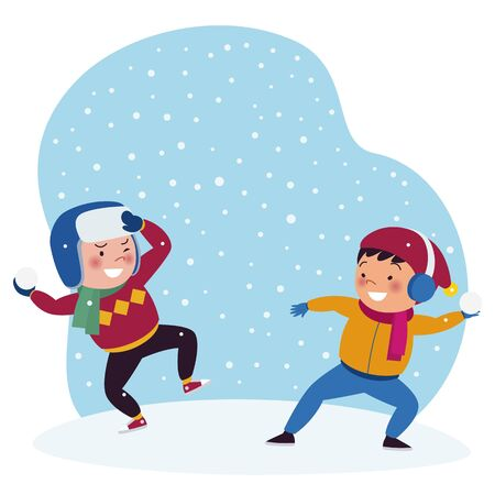 Two boys are playing snow throwing in the winter. Stock of childrens vector illustrations.