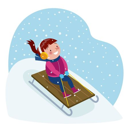 A little girl with a sweater sledding in a snow