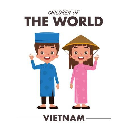 A Vietnamese boy and girl are wearing a traditional clothes or dress from Vietnam as they are waving their hands saying hello