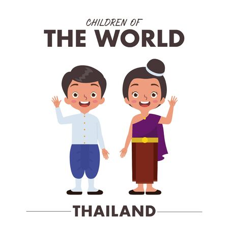 A Thais boy and girl are wearing a traditional clothes or dress from Thailand as they are waving their hands saying hello