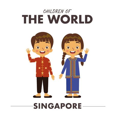 A Singaporean boy and girl are wearing a traditional clothes or dress from Singapore as they are waving their hands saying hello