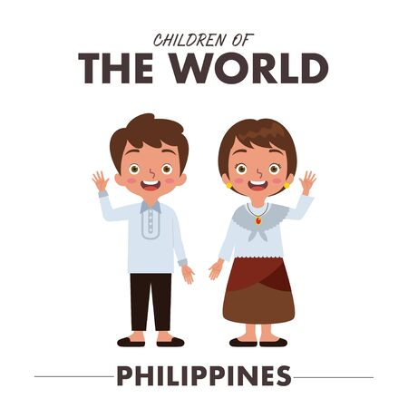 A Filipino or Pilipino boy and girl are wearing a traditional clothes or dress from Philippines as they are waving their hands saying hello