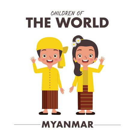 A boy and a girl are wearing a traditional clothes or dress from Myanmar