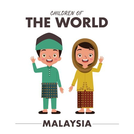 A boy and a girl are wearing a traditional clothes or dress from Malaysia as they are waving their hands saying hello