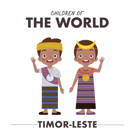 A boy and a girl are wearing a traditional clothes or dress from Timor-Leste