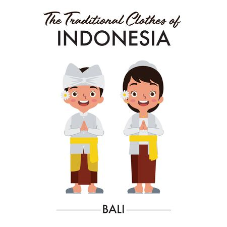 Balinese boy and girl are wearing Indonesian traditional clothes from Bali, Indonesia, as they saying welcome  イラスト・ベクター素材