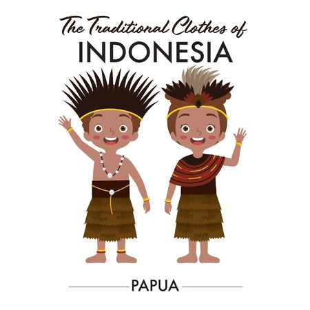 Indonesian boy and girl are wearing Indonesian traditional clothes from Papua, as they wave their hand saying welcome