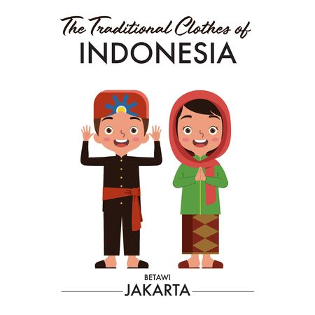 Indonesian boy and girl are wearing Indonesian traditional clothes from Betawi, Jakarta, as they saying welcome  イラスト・ベクター素材