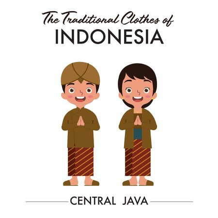 A couple of Indonesian boy and girl are wearing central java traditional clothes