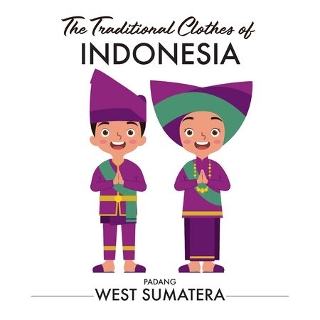 A couple of Indonesian boy and girl are wearing padang west sumatra traditional clothes. Ilustração
