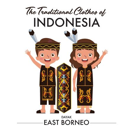 A couple of Indonesian boy and girl are wearing dayak east borneo traditional clothes and waving their hand Ilustração