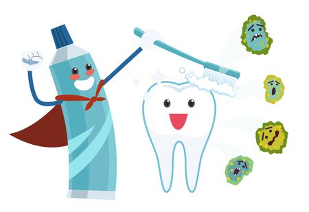The character of toothpaste is brushing a tooth with a tooth brush and making it clean and far from dental germs