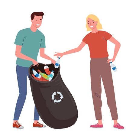 a smiling young woman and young man are putting plastic garbage in a recycle bag Ilustrace