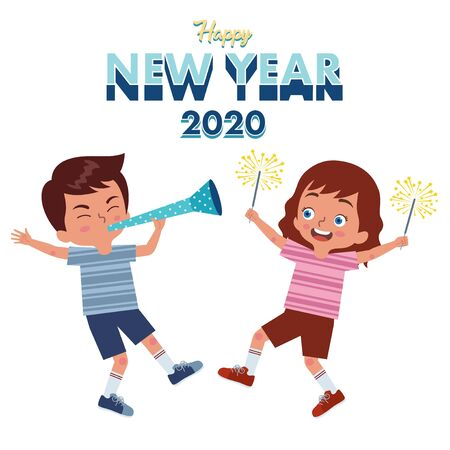a pair of girl and boy celebrate the new year 2020 together by blowing trumpets and holding fireworks Ilustração