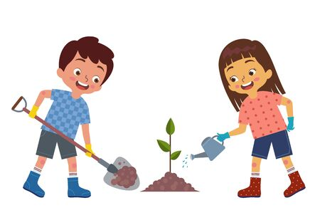 a pair of little boy and girl are planting and watering plants together Ilustração