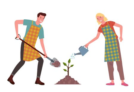 a pair of young men and women are planting and watering plants together