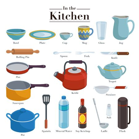 Collection of various kinds of cooking utensils and cooking materials that are often used in the kitchen