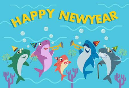 The shark family is celebrating the new year. Happy new year greeting card.