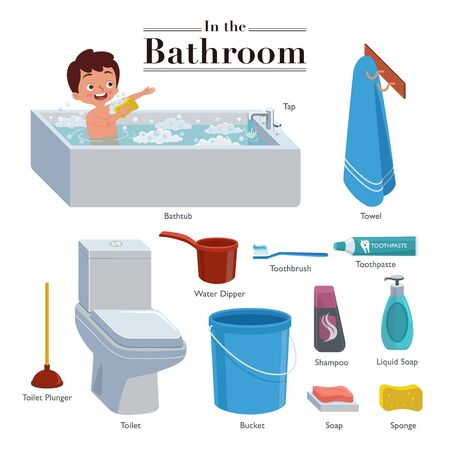 A collection that consists of activity and equipment that are often done and used in the bathroom or toilet.