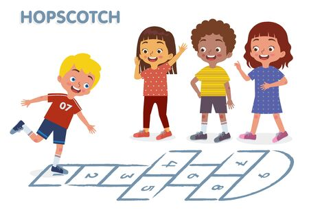 Children of various Ethnic Groups playing hopscotch happily together.