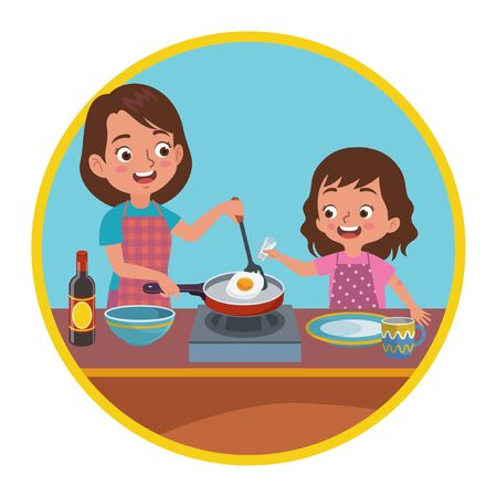 a mother and daughter are cooking together, the child helps her mother cook by pouring some salt