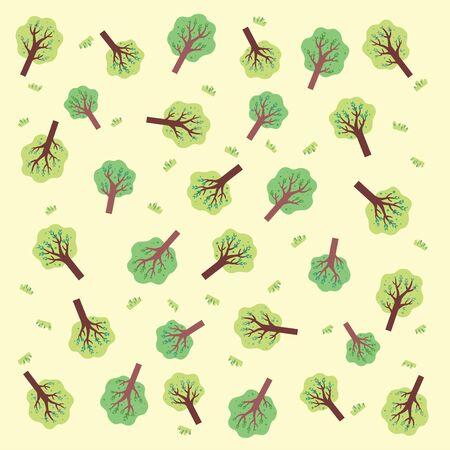 A pattern design of a tree and green grass Ilustração
