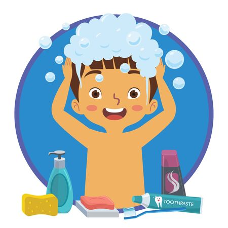 A boy is washing his hair happily along with the tools that usually used for bathing like shampoo, soap bar, tooth brush and tooth paste