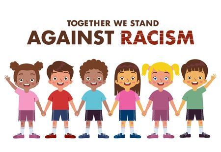 groups of boys and girls of various ethnic groups join hands against racism  イラスト・ベクター素材