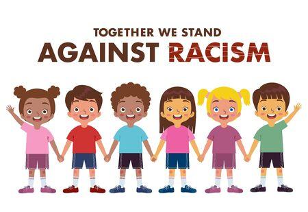 Gruppen von Jungen und Mädchen verschiedener ethnischer Gruppen schließen sich gegen Rassismus an