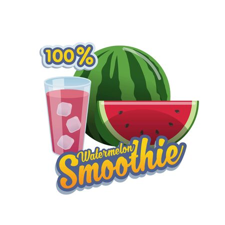 Vector, banner or sticker for 100% watermelon smoothie with glass and icecube Ilustração