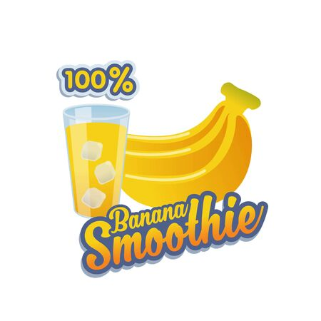 Vector, banner or sticker for 100% banana smoothie with glass and icecube Ilustração