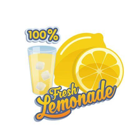 Vector, banner or sticker for 100% fresh lemonade with glass and icecube Ilustração