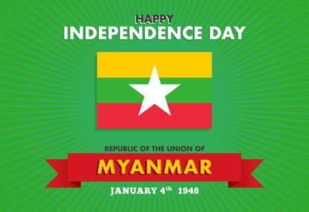 Vector illustration Myanmar Independence Day on 4th January. Celebration poster with flag of Myanmar.