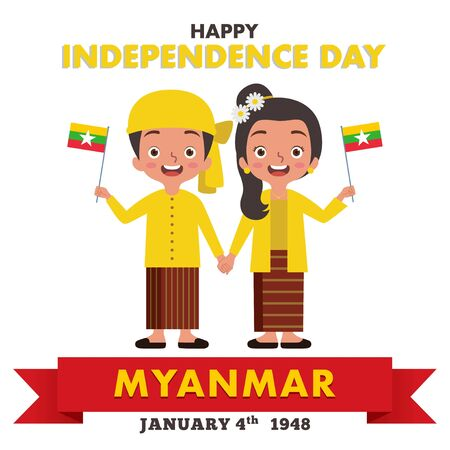 A pair of Myanmar boy and girl are celebrating Myanmar Independence Day while they are wearing traditional Myanmar clothes and holding the Myanmar flag Ilustração