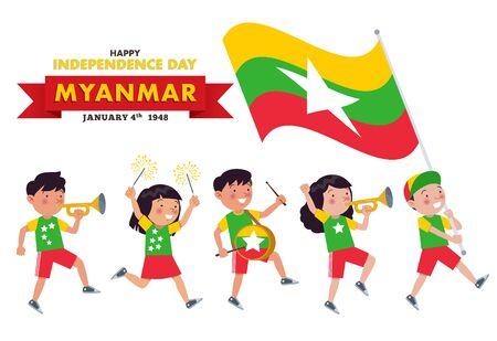 Myanmar children are parading commemorating and celebrating the Independence day of Myanmar Ilustração