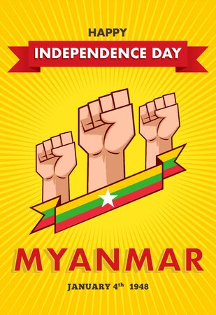 Vector illustration Myanmar Independence Day on 4th January. Celebration poster with clenched fist and flag of Myanmar.
