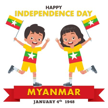 A pair of boy and girl are celebrating Myanmar Independence Day while holding the flag of Myanmar and wearing a shirt that matches the color of the Myanmar