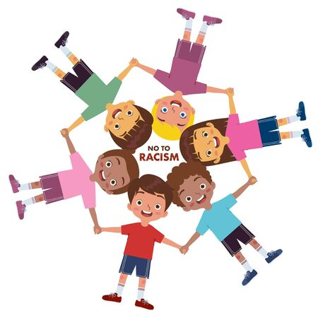 A group of children from various ethnic groups holding hands while smiling and making circles and rejecting racism Ilustração