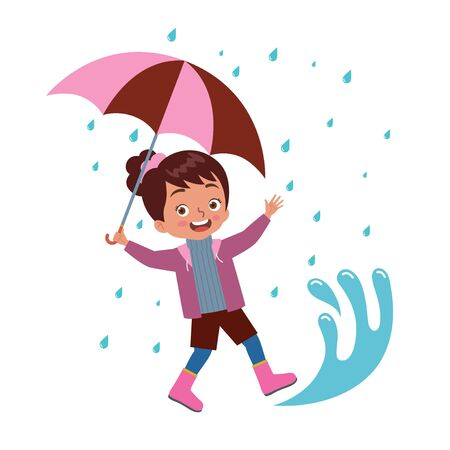 a girl carrying an umbrella playing happily in a puddle of rain
