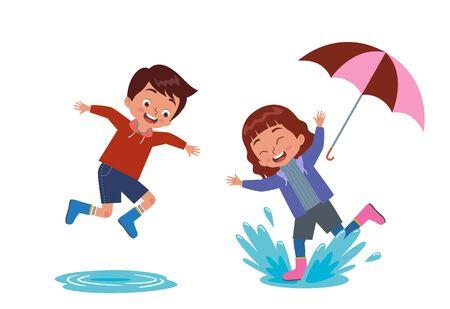 les garçons et les filles jouent joyeusement avec les flaques d'eau