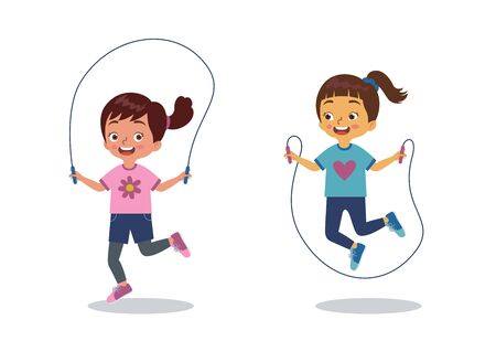 two little girls are playing jumping rope together happily