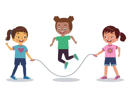 three girls are playing jumping rope together happily Ilustração