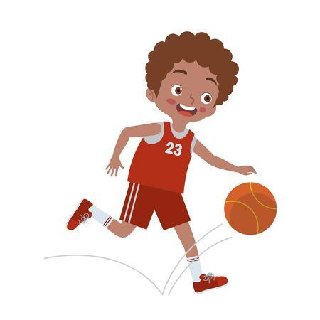 a boy is playing basketball Ilustração