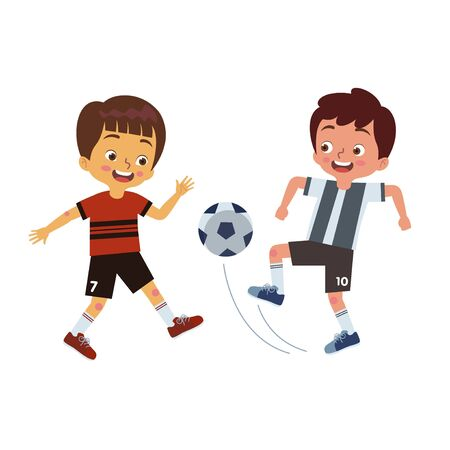 Two boys are playing soccer together