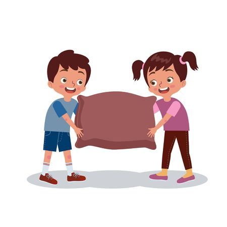 Two friends were helping each other to carry sacks of rice. Vector Children Illustration.