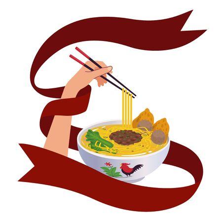 Illustration or vector hands holding chopstick and noodles on traditional bowl with red ribbon. Ilustração