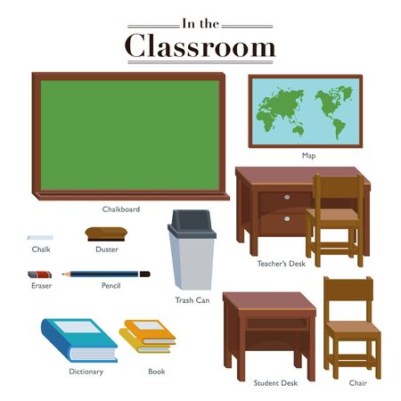Illustration of a situation in the classroom along with tools and objects that are usually in the classroom