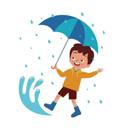 a boy carrying an umbrella playing happily in a puddle of rain Ilustração
