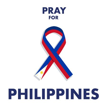 A ribbon made from Philippines flag colour. A messages of support to Philippines Taal Volcano.
