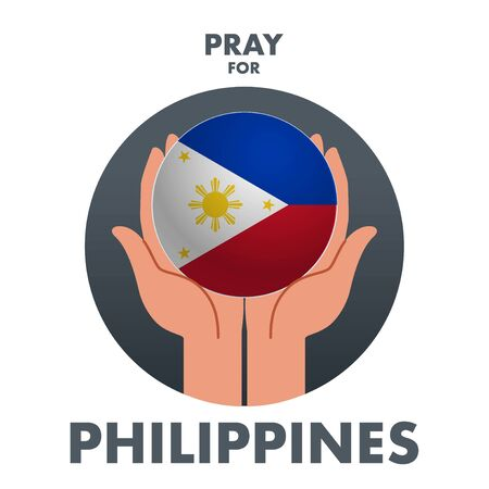 A vector or illustration of a praying hand holding Philippines country symbol. A messages of support to Philippines Taal Volcano.